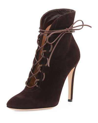 Suede Lace-Up 105mm Bootie, Moka