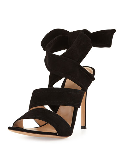Suede Ankle-Tie 105mm Sandal, Black