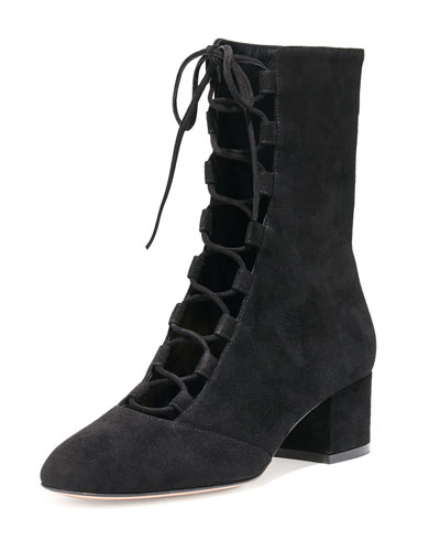 Suede Lace-Up Mid-Calf Boot, Black