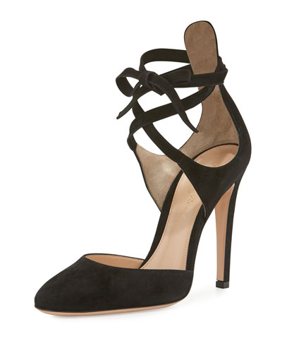 Suede Ankle-Wrap d'Orsay Pump, Black