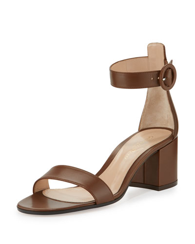 Versilia Leather Chunky-Heel Sandal, Texas