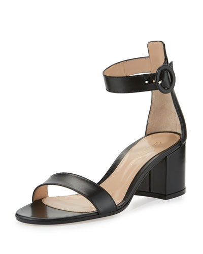 Versilia Leather Chunky-Heel Sandal, Black