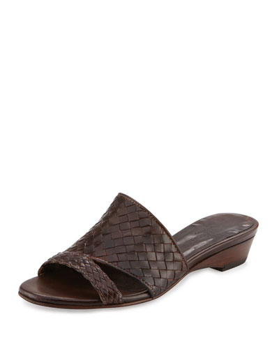 Gabri Woven Leather Slide Sandal, Dark Tan
