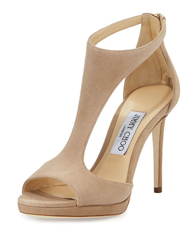 Lana Suede T-Strap 100mm Sandal, Nude