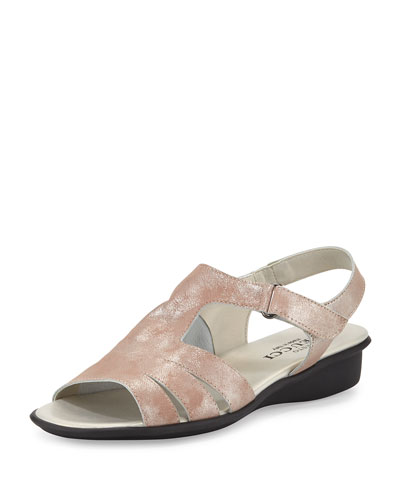 Eileen Leather Demi-Wedge Sandal, Sand