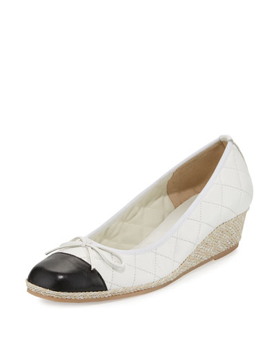 Margie Quilted Cap-Toe Wedge Pump, White