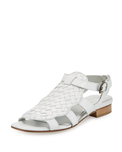 Gala Woven Leather Flat Sandal, White