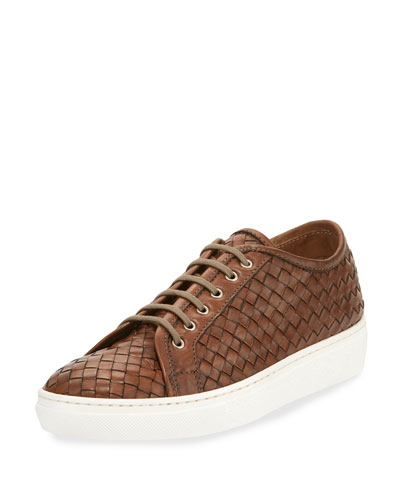Nace Woven Lace-Up Sneaker, Taupe