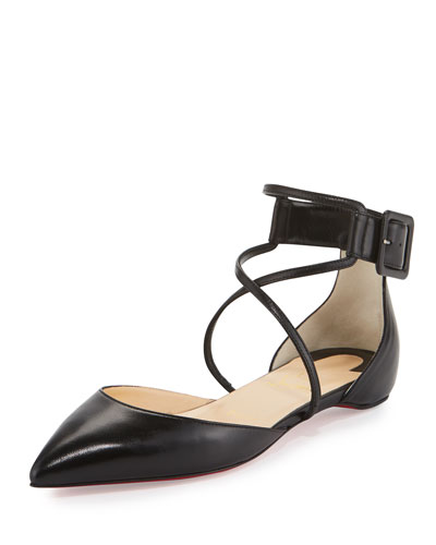 Suzanna Leather Crisscross Red Sole Flat, Black