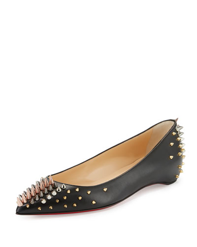 Goldoflat Spiked Red Sole Ballerina Flat, Black