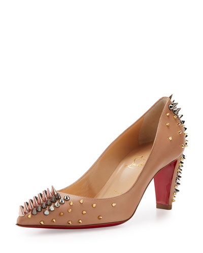 Goldopump Spiked Leather Red Sole Pump, Nude/Multi Metal