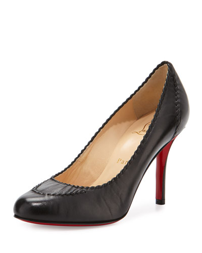 Marpelissimo Twisted 85mm Red Sole Pump, Black