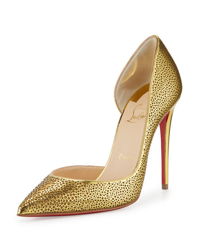 Galu Half-d'Orsay 100mm Red Sole Pump, Gold