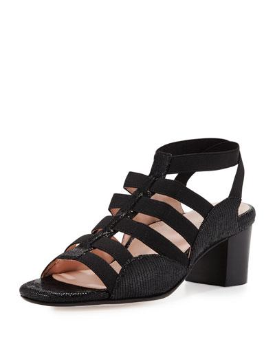 Reesa Caged Chunky-Heel Sandal, Black