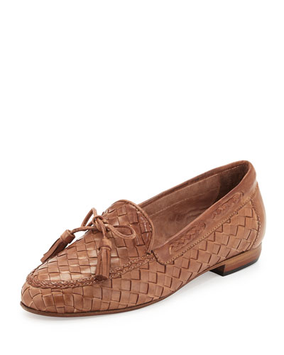 Nicole Woven Leather Loafer, Natural