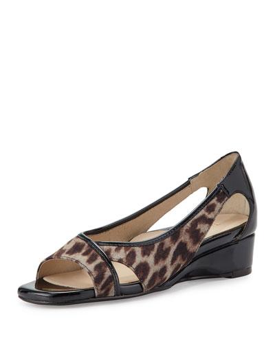 Klouse Open-Toe Demi-Wedge Sandal, Tan/Black