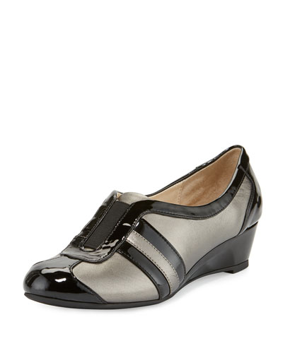 Paislee Striped Wedge Sneaker, Pewter
