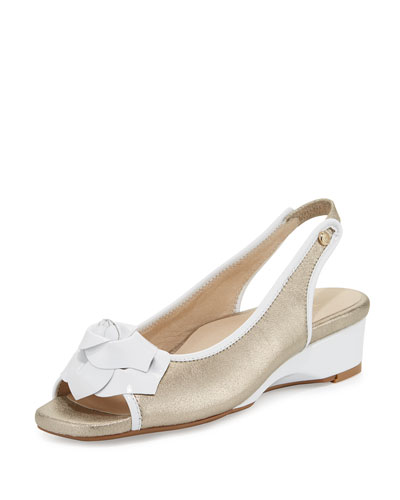 Karlos Flower Demi-Wedge Sandal, Quartz/White