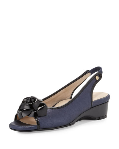 Karlos Flower Demi-Wedge Sandal, Navy Blue/Black