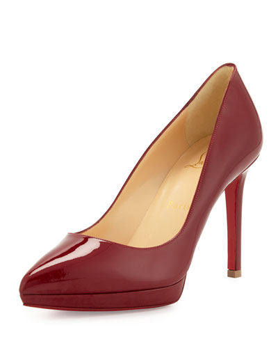 Pigalle Plato Patent Red Sole Pump, Carmine