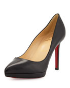 Christian Louboutin Pigalle Plato Leather Red Sole Pumps,