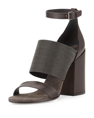 Monili Ankle-Wrap Chunky-Heel Sandal, Espresso