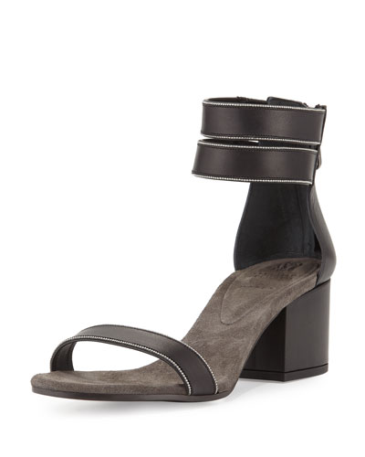 Monili-Trim Leather City Sandal, Black