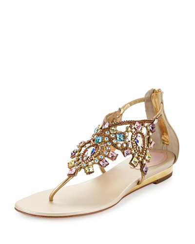 Jewel-Embellished Flat Thong Sandal, Multi/Gold