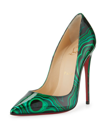 So Kate Marbled Red Sole Pump, Green/Black