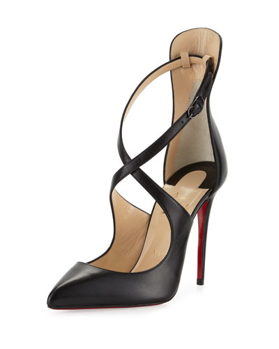 Marlenarock Crisscross Leather Red Sole Pump, Black