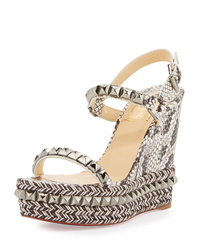 Cataclou Snake-Print 120mm Wedge Red Sole Sandal, Multi