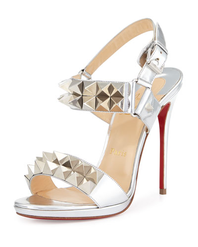 Miziggoo Spiked Two-Band Red Sole Sandal, Silver