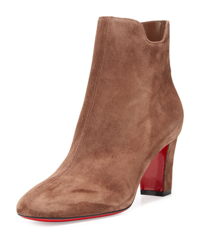 Tiagadaboot Suede 70mm Red Sole Bootie, Chatain