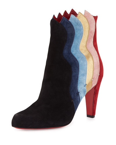 Wavy Colorblock Suede Red Sole Boot, Black/Multi