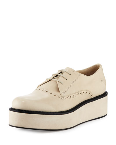 Lace-Up Flatform Leather Oxford, White