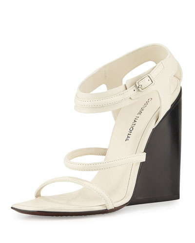 Strappy Leather Wedge Sandal, White