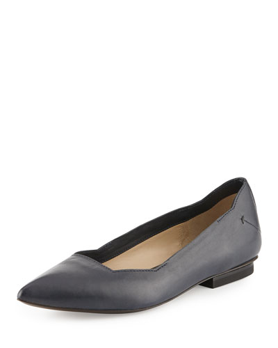Pointed-Toe Leather Flat, Dark Blue