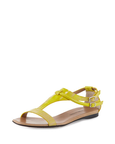 T-Strap Leather Sandal, Yellow