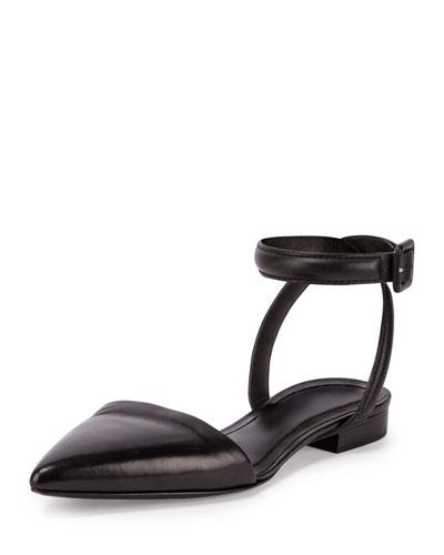 Lauren Leather Ankle-Wrap d'Orsay Flat, Black