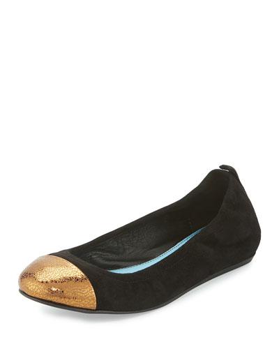 Suede Cap-Toe Ballerina Flat, Black/Gold