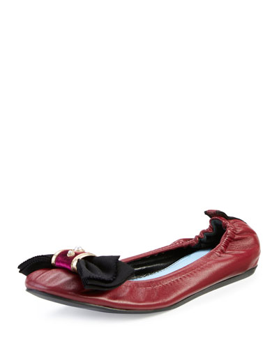 Bow Leather Ballerina Flat, Garnet