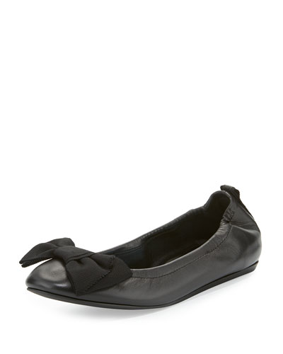 Bow Leather Ballerina Flat, Black