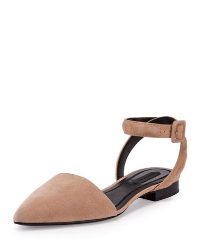 Lauren Suede Ankle-Wrap d'Orsay Flat, Truffle