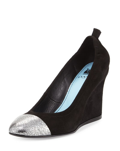 Suede Cap-Toe Wedge Pump, Black/Silver