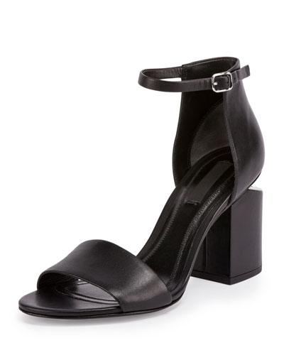 Abby Tilt-Heel Leather d'Orsay Sandal, Black
