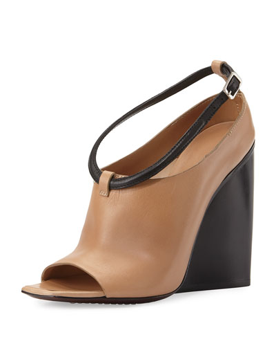 Open-Toe Wedge Bootie, Tan/Black