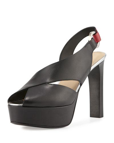 Peep-Toe Slingback Platform Sandal, Black/Red