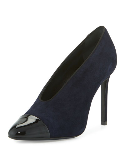 Suede Cap-Toe 105mm V-Neck Pump, Dark Blue/Black