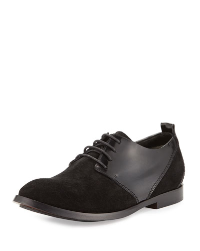 Suede & Leather Lace-Up Oxford, Black