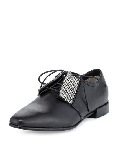 Embellished Leather Oxford, Black